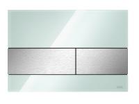 TECEsquare. Панель смыва, cтекло зеленое,  клавиши шлифованная нерж. сталь