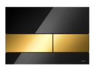 TECEsquare. Панель смыва, стекло черное, клавиши позолоченные
