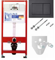 TECE Комплект для установки подвесного унитаза: пласт.панель смываTECEnow, черная матовая с унитазом