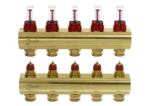DANFOSS Коллекторы FHF-11F с расходомерами для 11 контуров