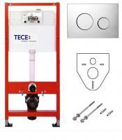 TECE Комплект для установки подвесного унитаза: пластиковая панель смываTECEloop, хром глянцевый